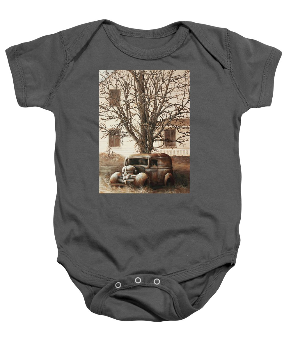 Unusual Baby Onesie featuring the painting An Unusual Delivery by Janice Smith