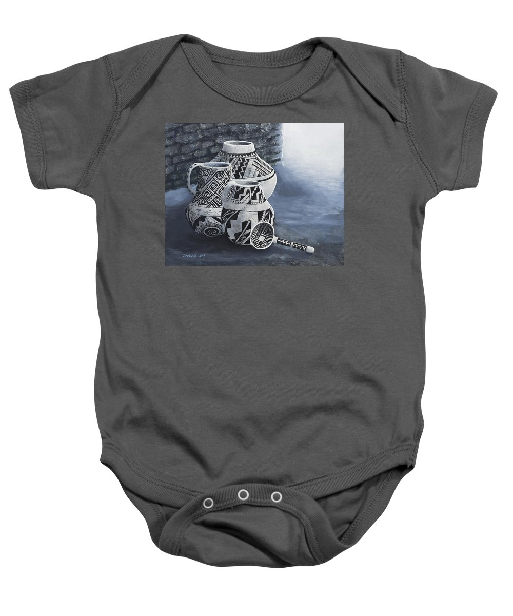 Native American Baby Onesie featuring the painting Anasazi Charm by Jerry McElroy