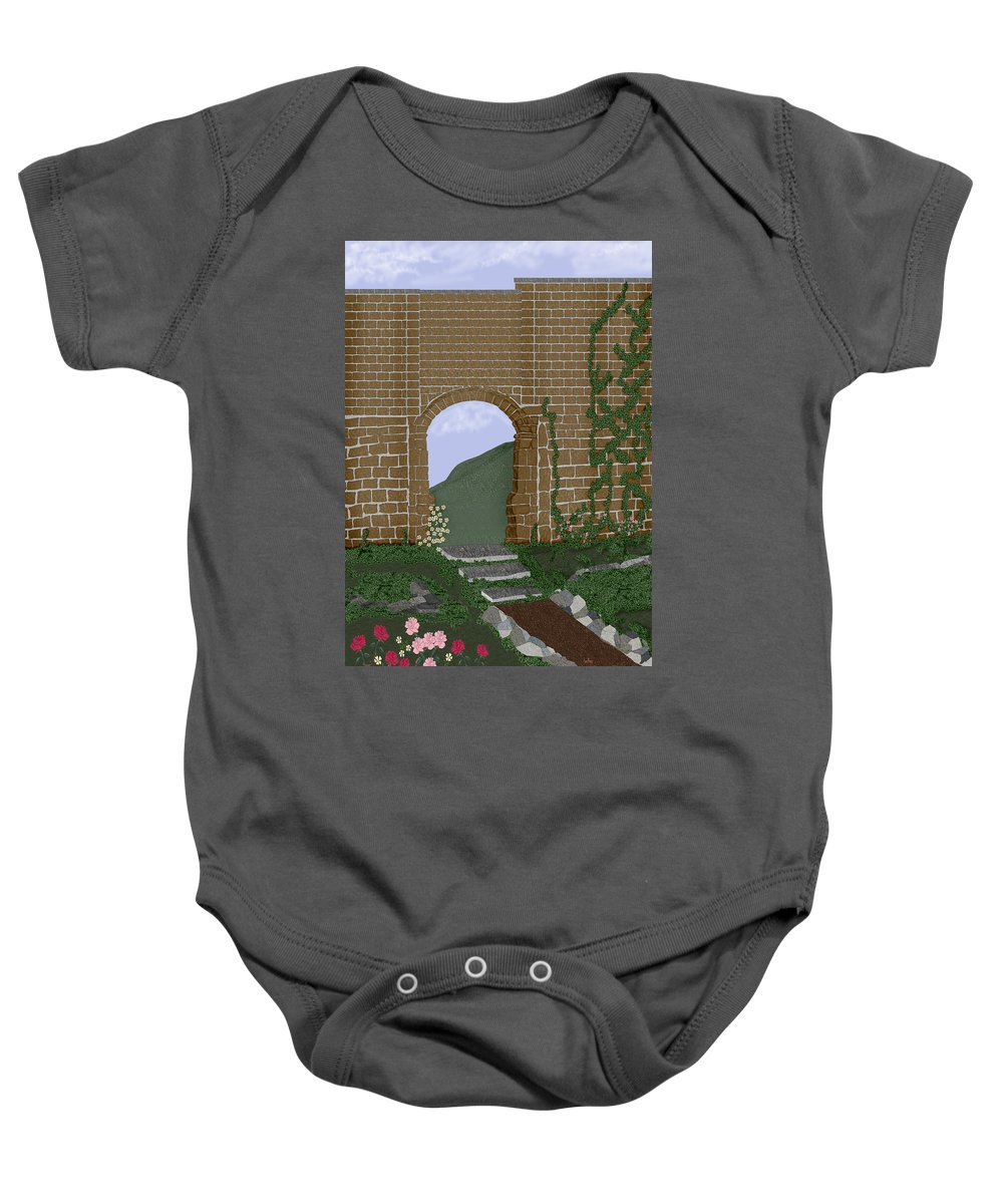 Irish Ruins Baby Onesie featuring the painting Ancient Walls by Anne Norskog