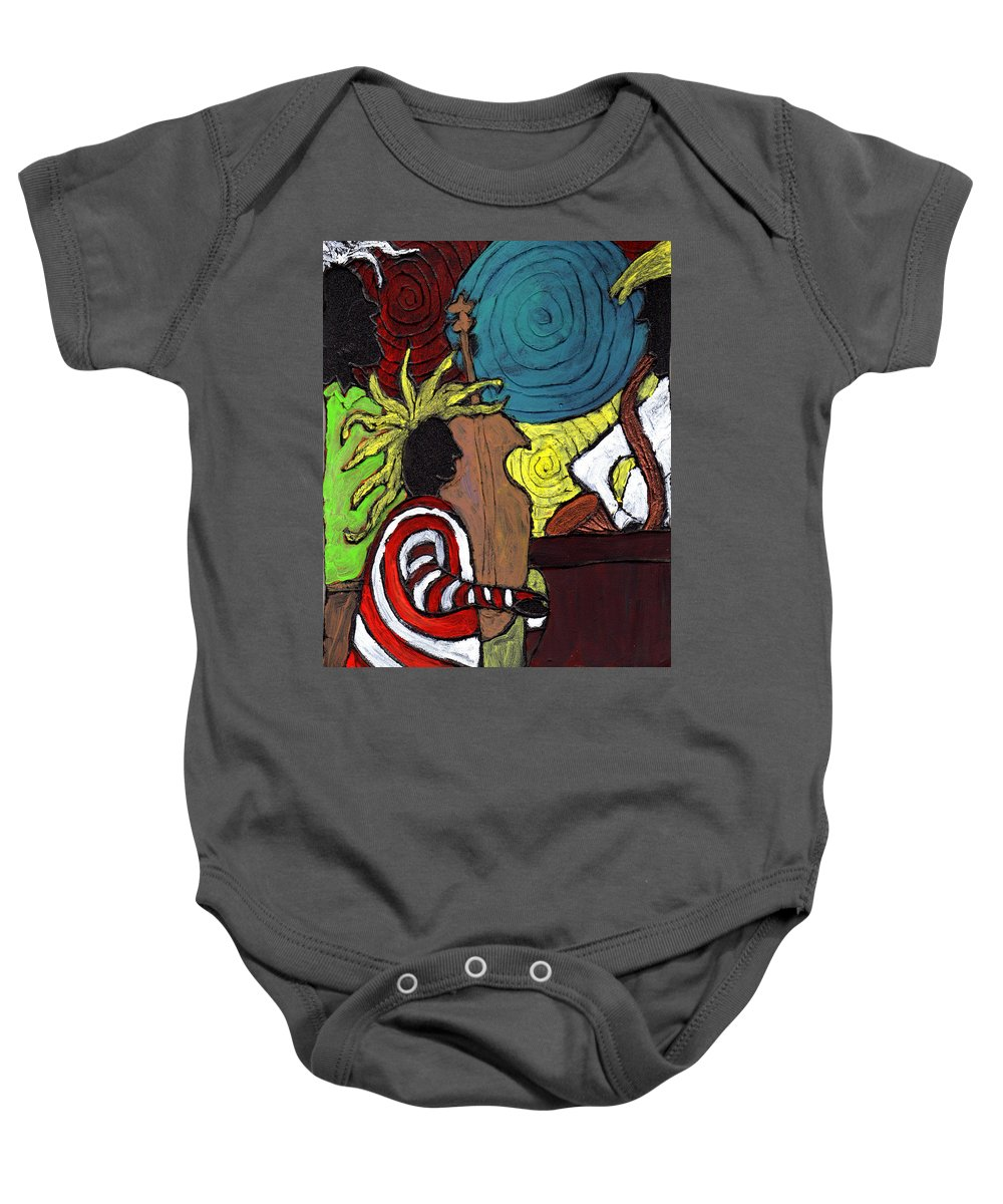 Music Baby Onesie featuring the painting and the Band Played On by Wayne Potrafka