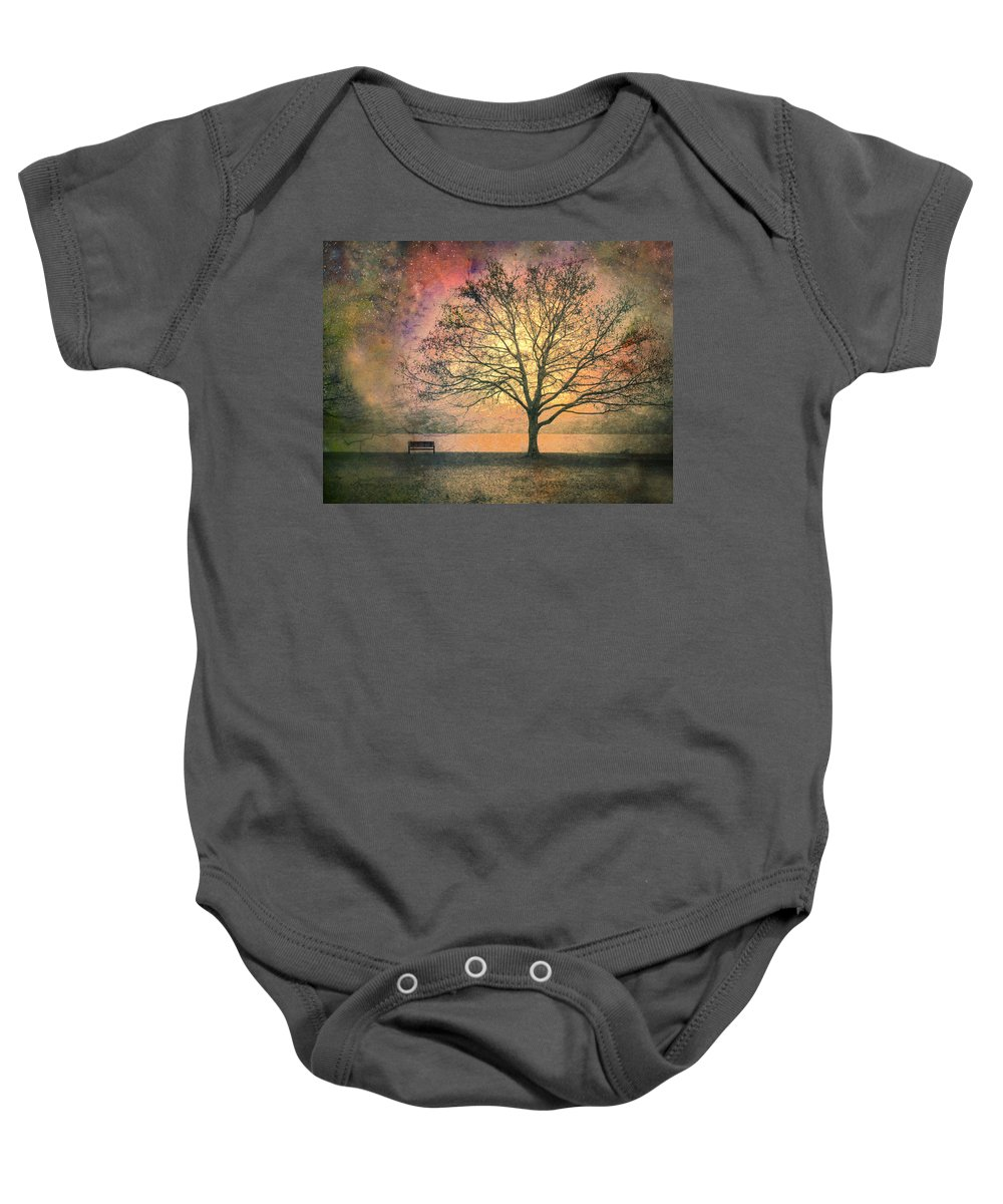 Tree Baby Onesie featuring the photograph And The Morning Is Perfect In All Her Measured Wrinkles by Tara Turner