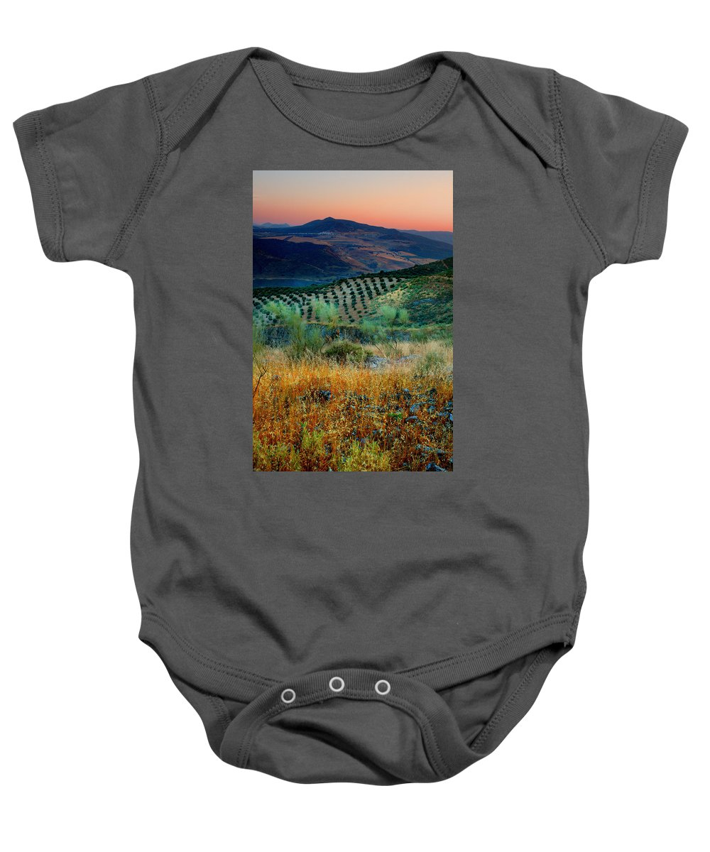 Andalucia Baby Onesie featuring the photograph Andalucian Landscape by Mal Bray