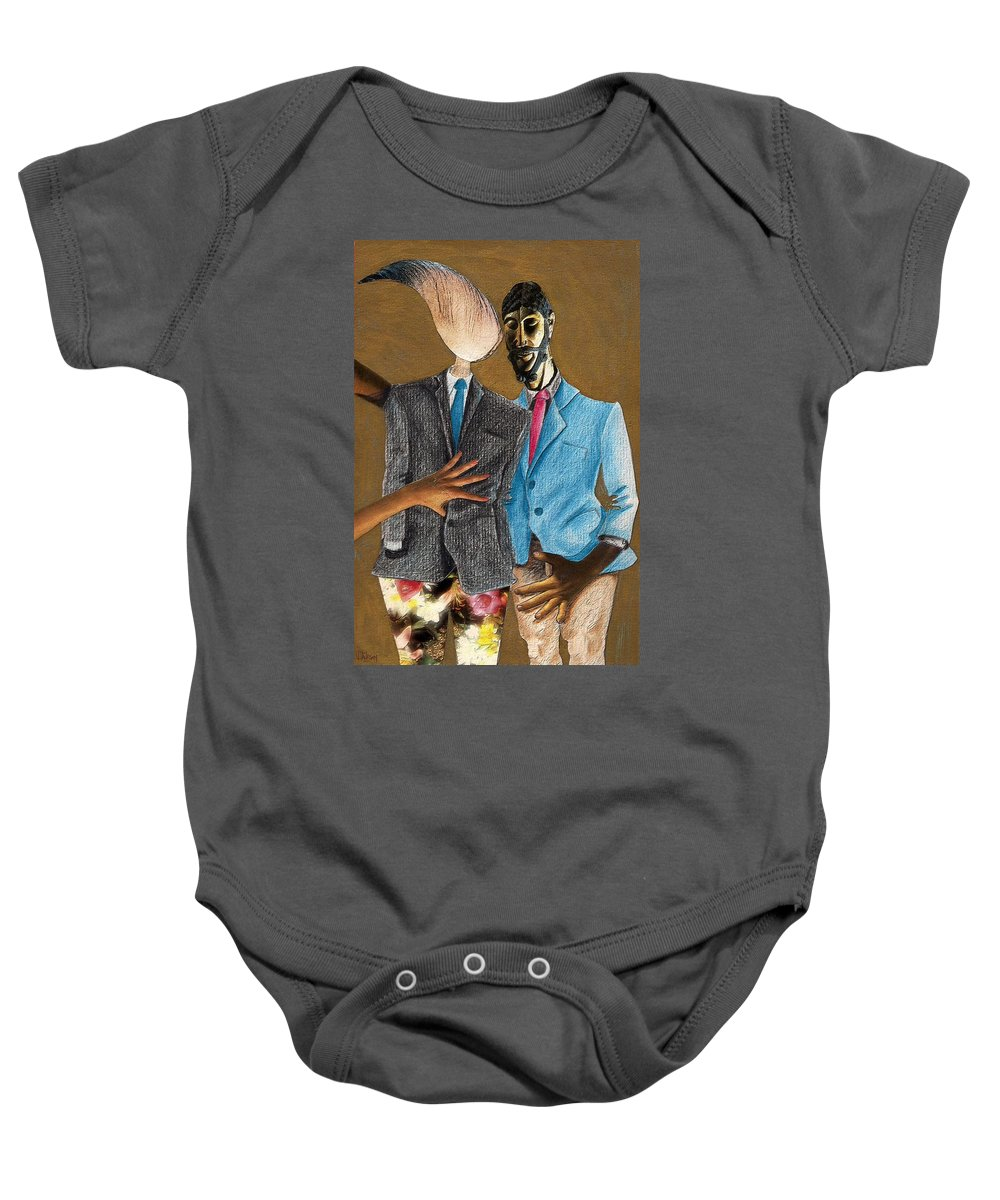 Sex Gay Androginality Couple Love Relation Baby Onesie featuring the mixed media Androginality by Veronica Jackson