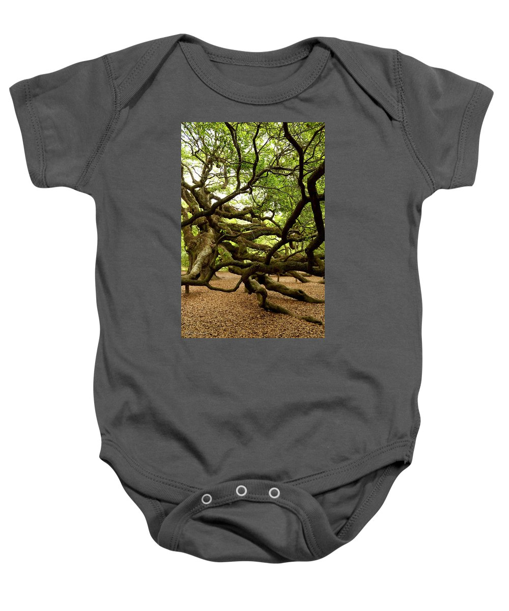 Charleston Baby Onesie featuring the photograph Angel Oak by Greg Simmons