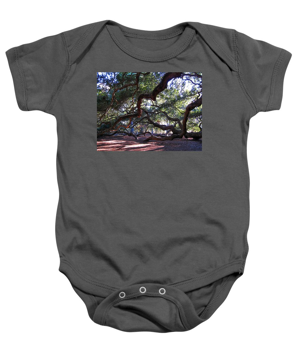 Photography Baby Onesie featuring the photograph Angel Oak Side View by Susanne Van Hulst