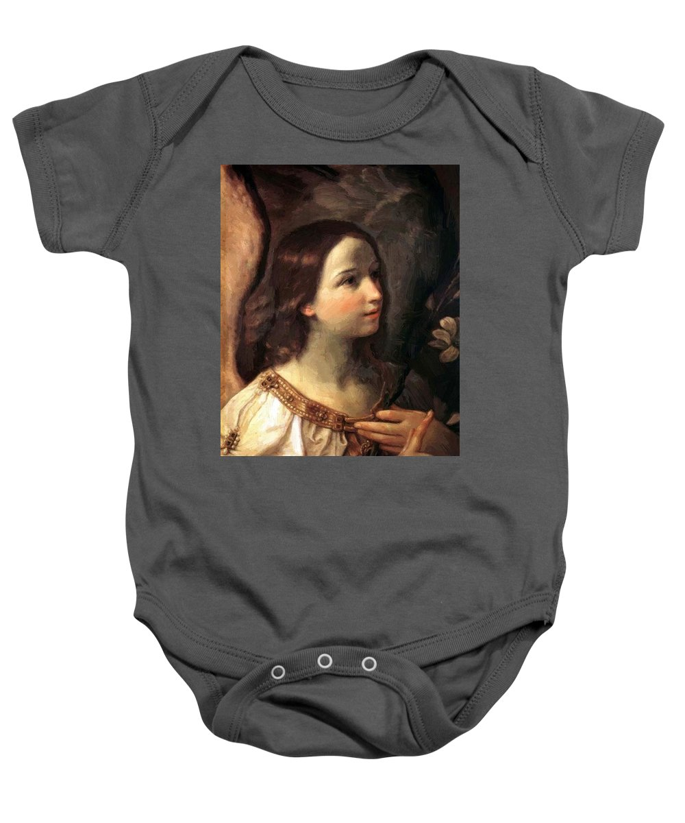Angel Baby Onesie featuring the painting Angel Of The Annunciation by Reni Guido