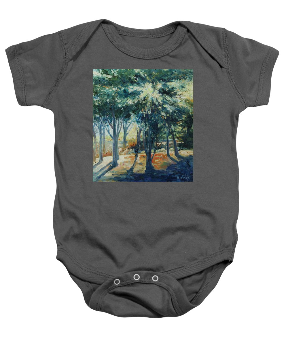 Trees Baby Onesie featuring the painting Angel Rays by Rick Nederlof