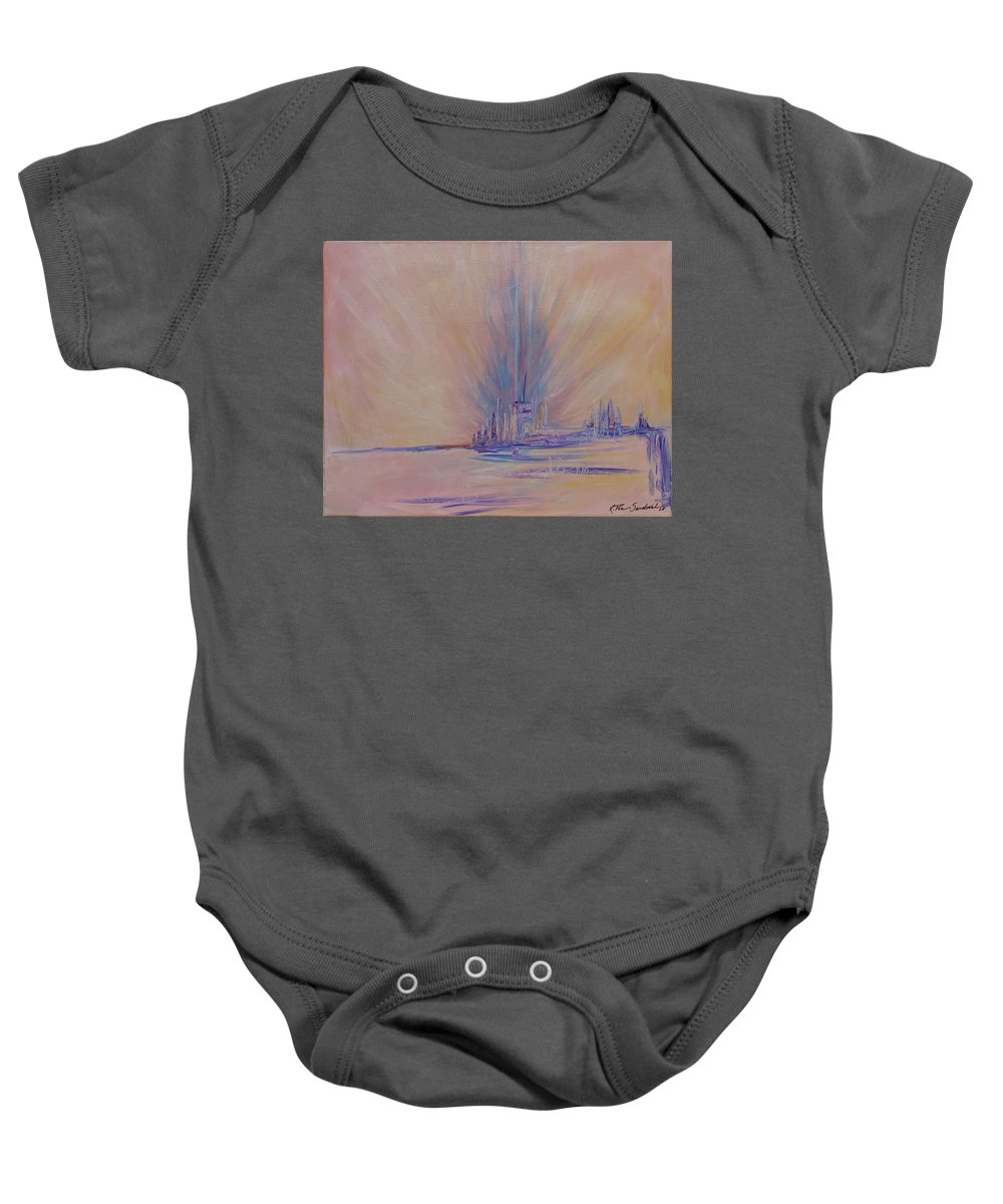 Abstract Baby Onesie featuring the painting Angels Of Revival 1 by Kathleen Sandoval