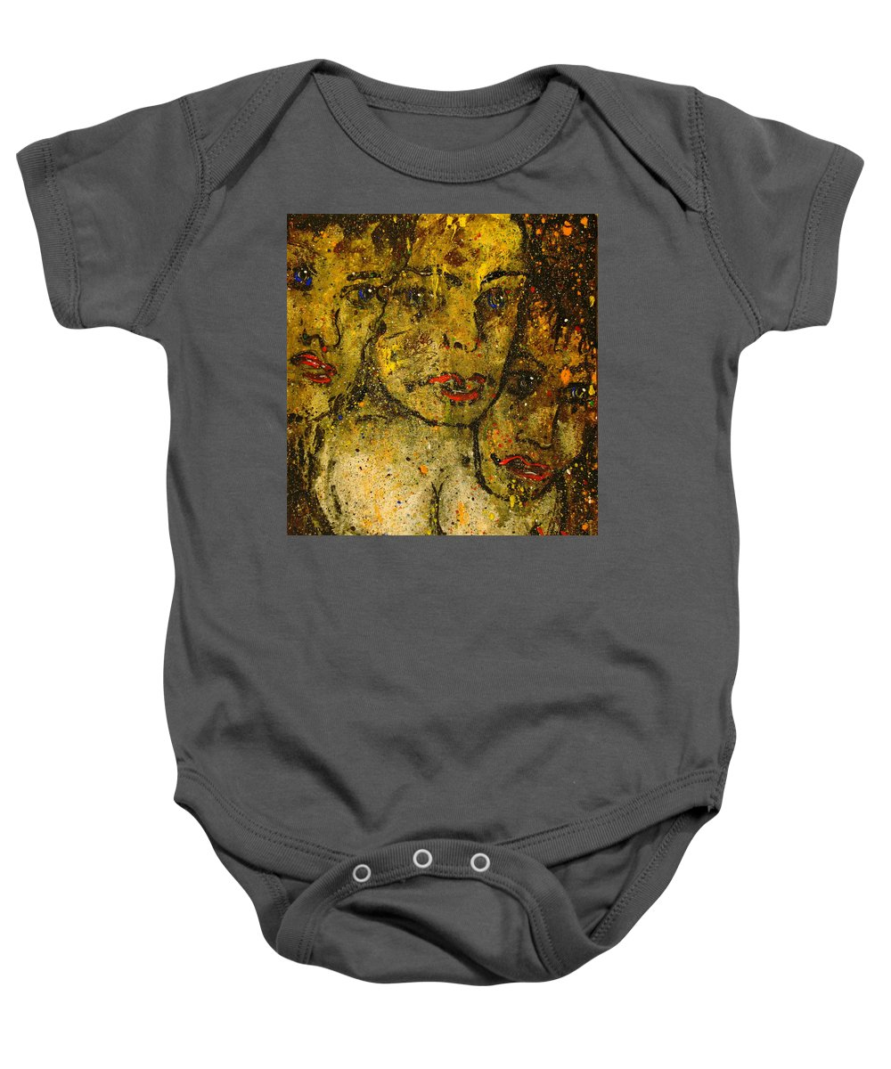 Warriors Baby Onesie featuring the painting Angry Warriors by Natalie Holland