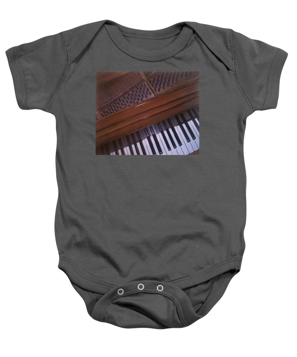 Piano Baby Onesie featuring the mixed media Anita's Piano 1 by Anita Burgermeister