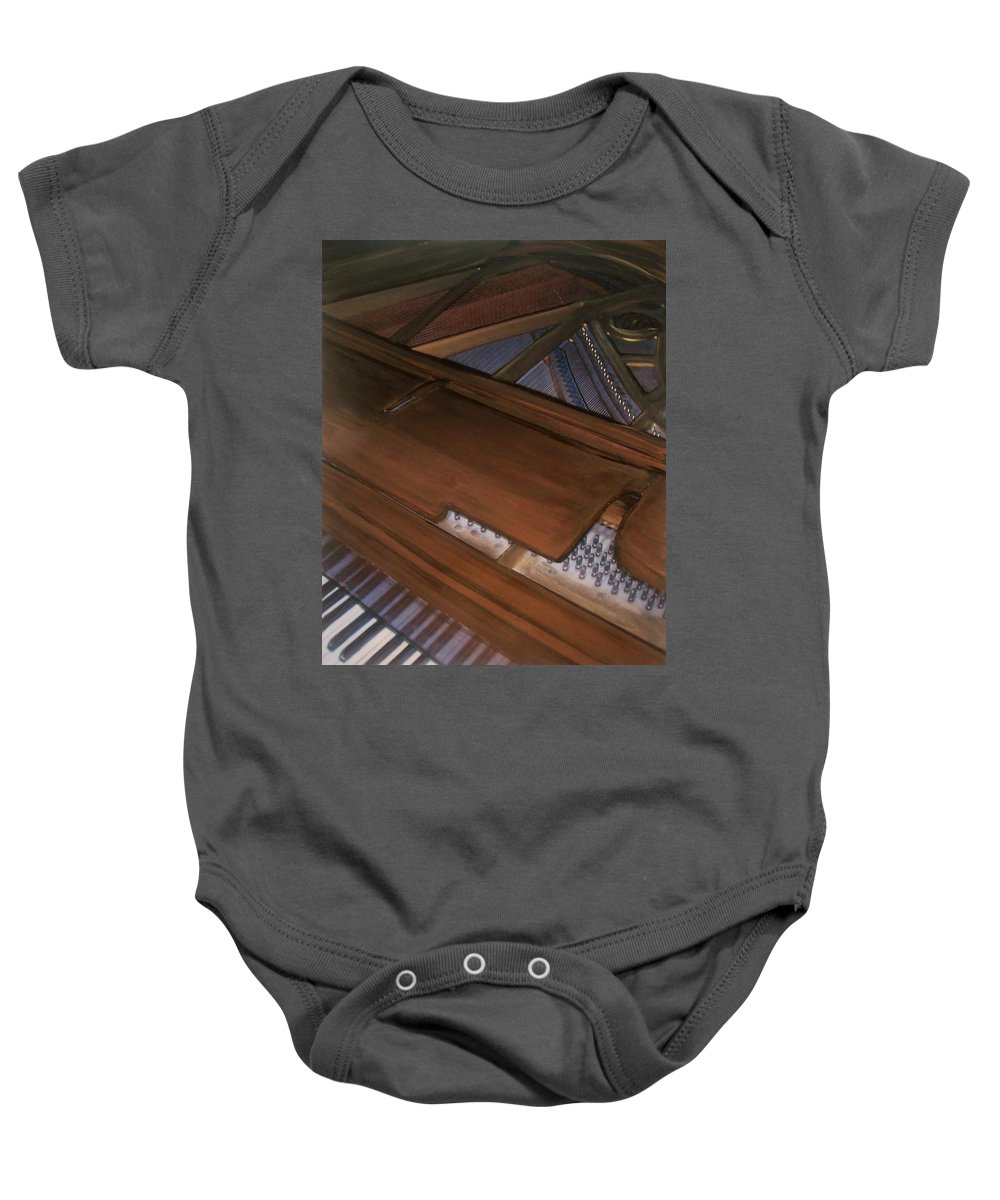 Piano Baby Onesie featuring the mixed media Anita's Piano 2 by Anita Burgermeister