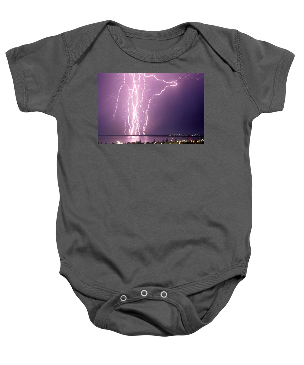 Lightning Baby Onesie featuring the photograph Anomaly by Robert Caddy
