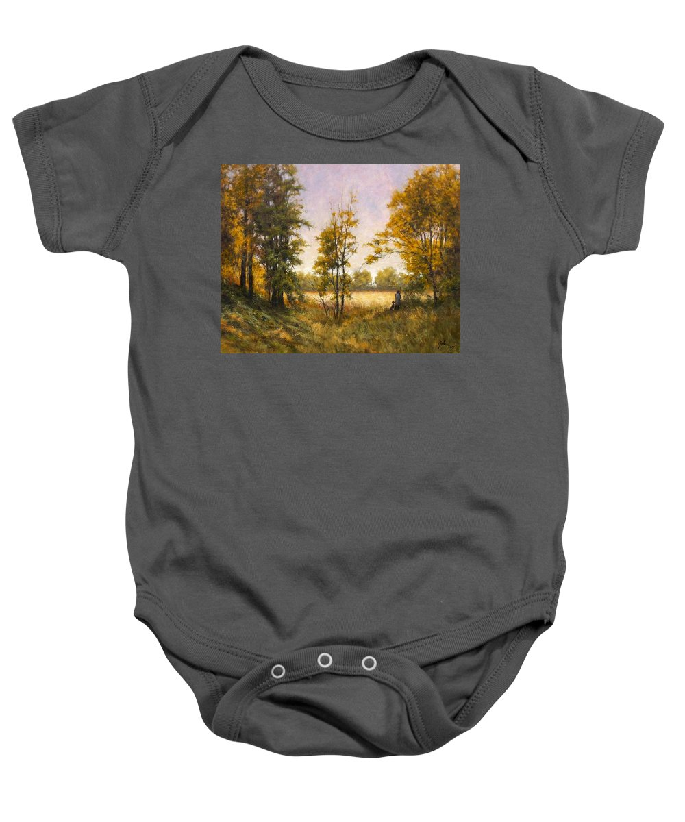 Artist Baby Onesie featuring the painting Anticipation by Jim Gola