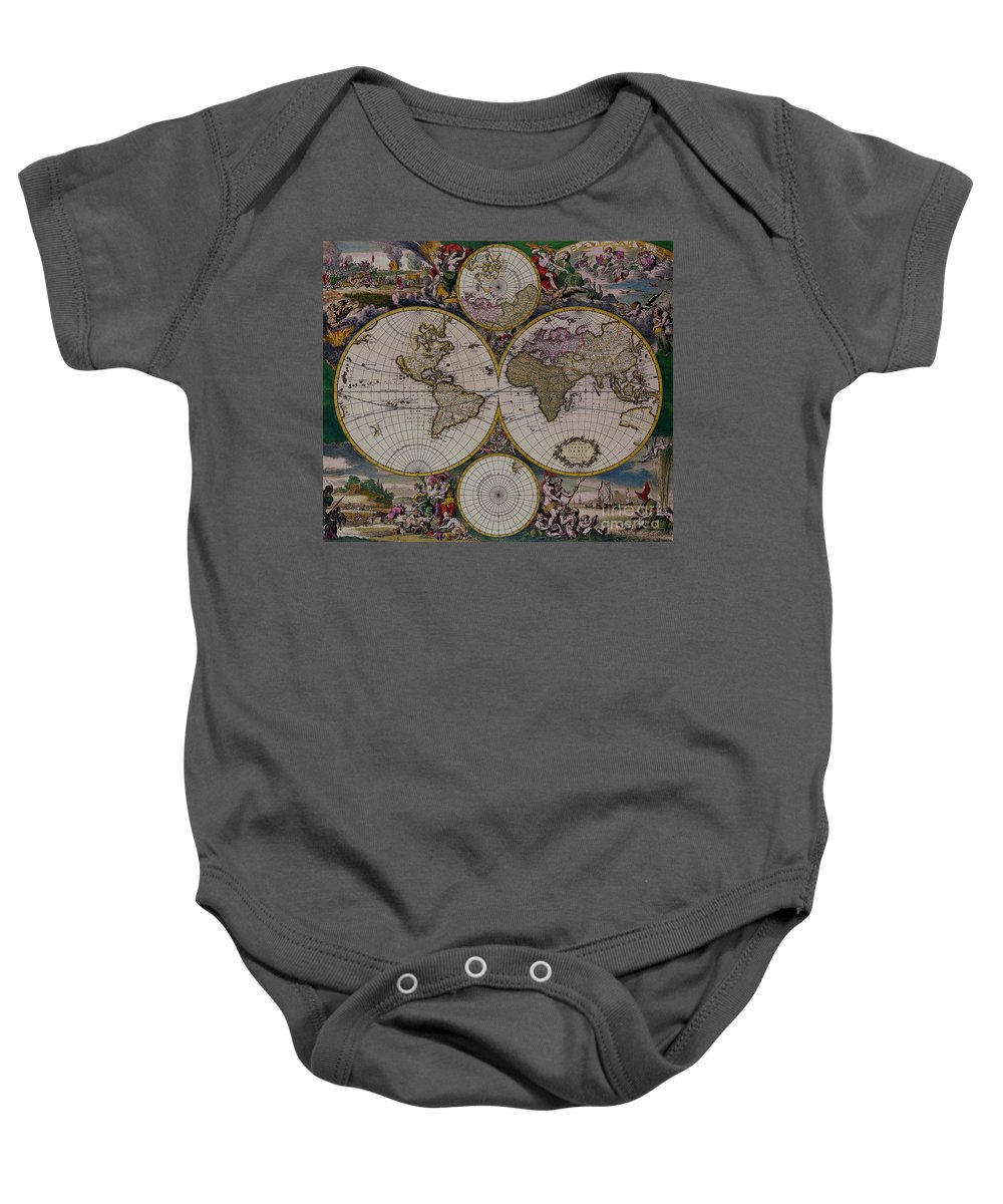 Antique Map Baby Onesie featuring the digital art Antique Map Exotic Colorful by R Muirhead Art
