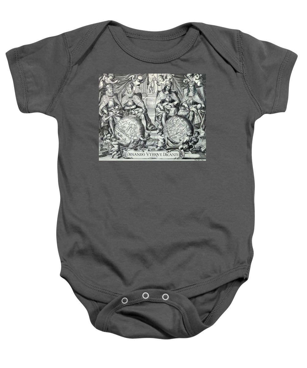 Antique Map Baby Onesie featuring the drawing Antique Illustration Of The Eastern And Western Hemispheres - Antique Globe - Old Atlas Title Page by Studio Grafiikka