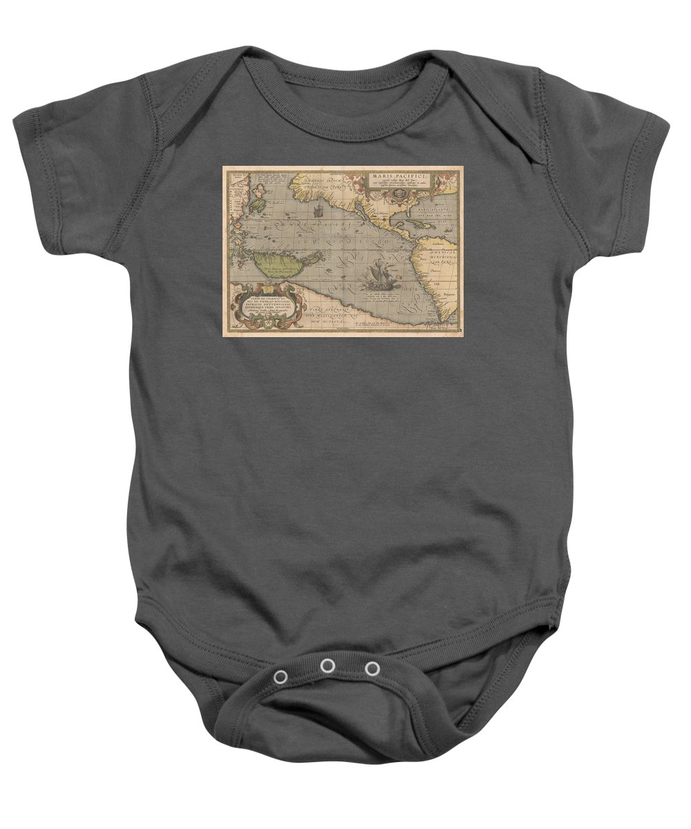 Antique Map Of The Pacific Ocean Baby Onesie featuring the drawing Antique Maps - Old Cartographic Maps - Antique Map Of The Pacific Ocean - Mar Del Zur, 1589 by Studio Grafiikka
