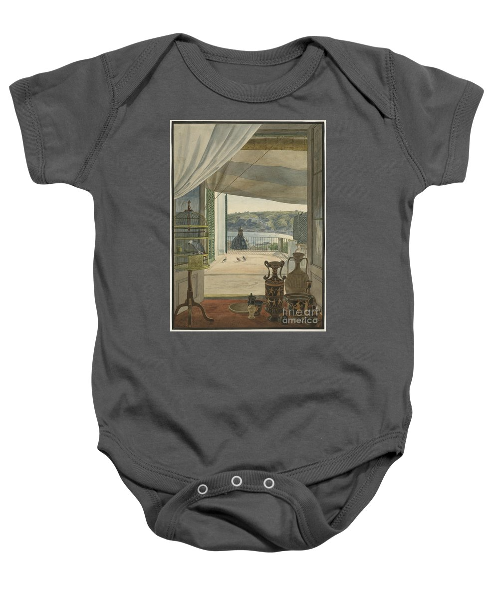 Baby Onesie featuring the drawing Antiquities By A Balcony Overlooking The Gulf Of Naples by Carl Wilhelm G?tzloff