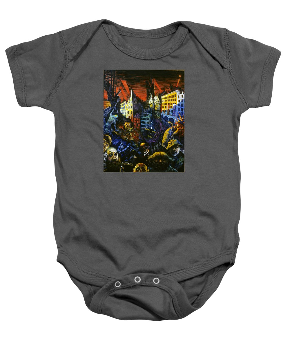 Baby Onesie featuring the painting Apocalypse by Ari Roussimoff