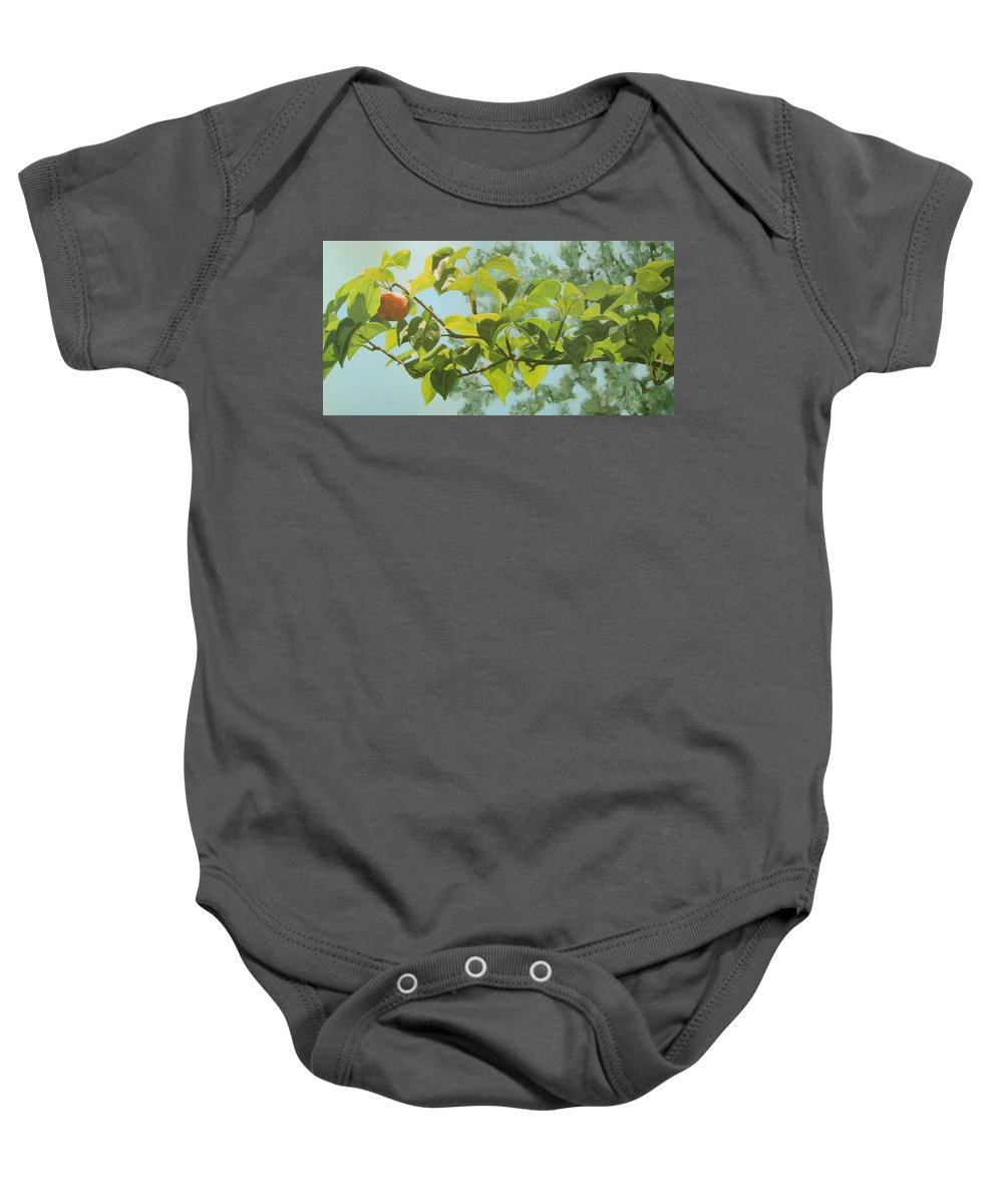 Trees Baby Onesie featuring the painting Apple A Day by Karen Ilari
