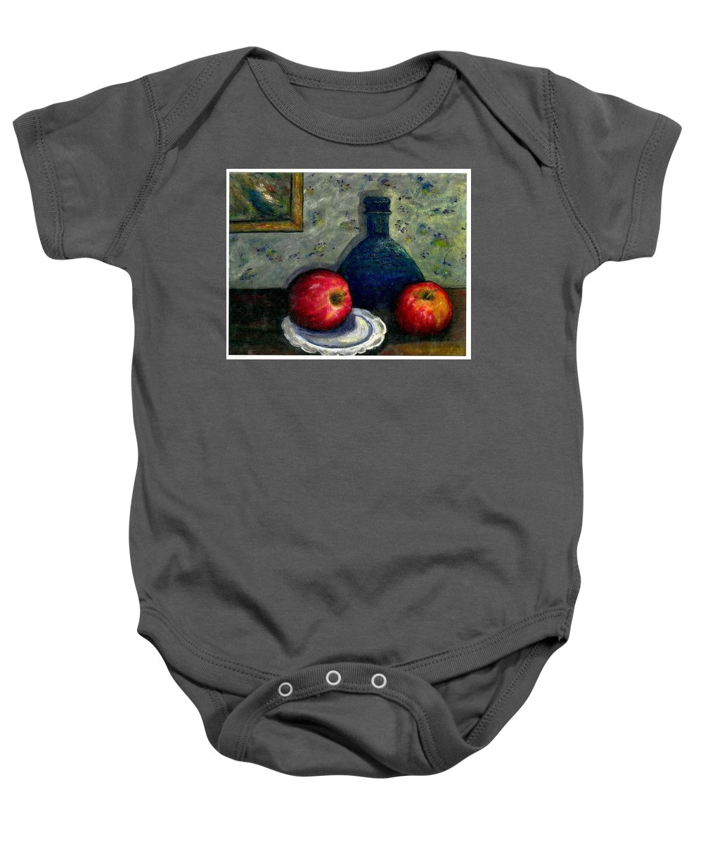Still Life Baby Onesie featuring the painting Apples And Bottles by Gail Kirtz