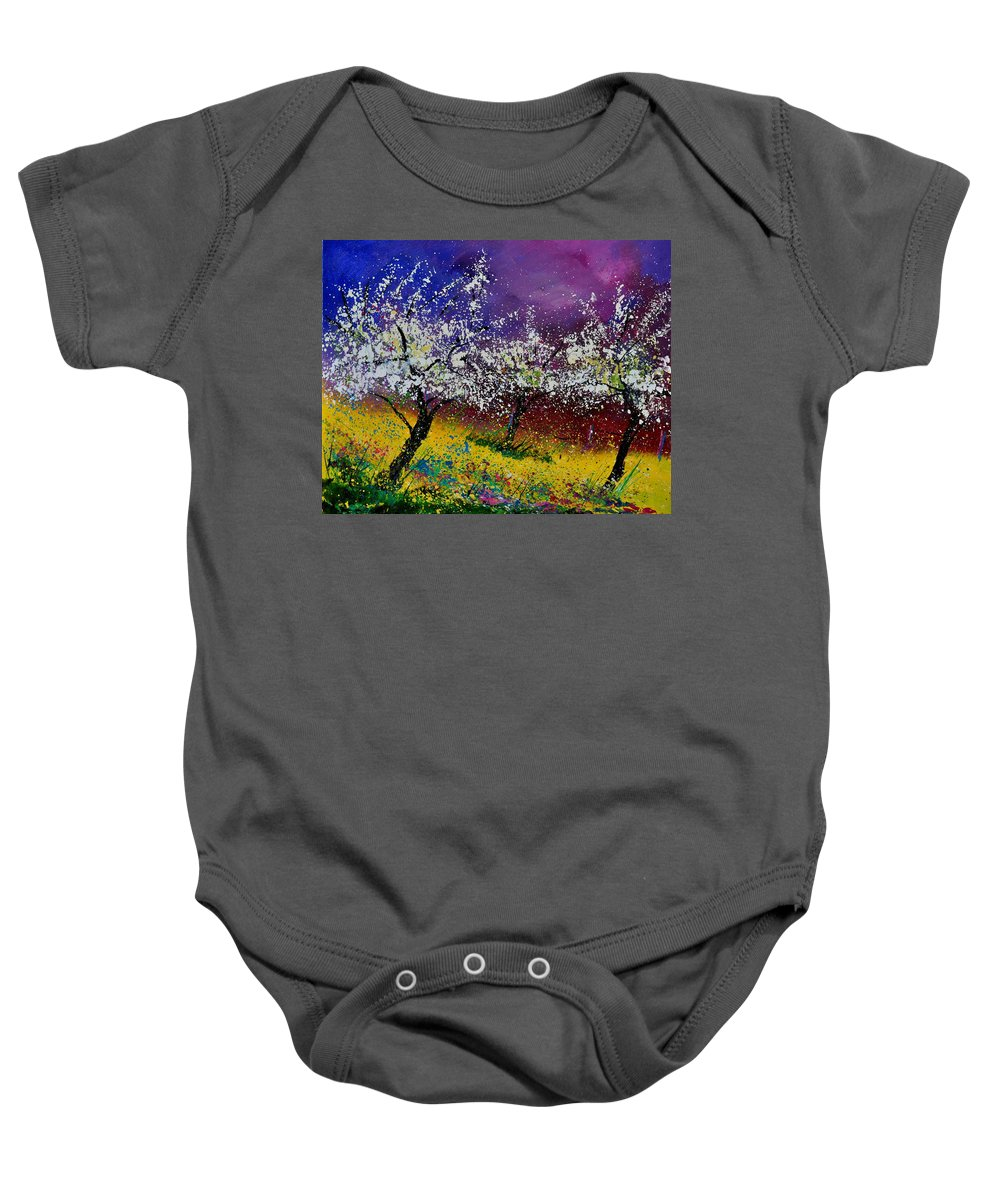 Landscape Baby Onesie featuring the painting Appletrees In Blossom 450160 by Pol Ledent
