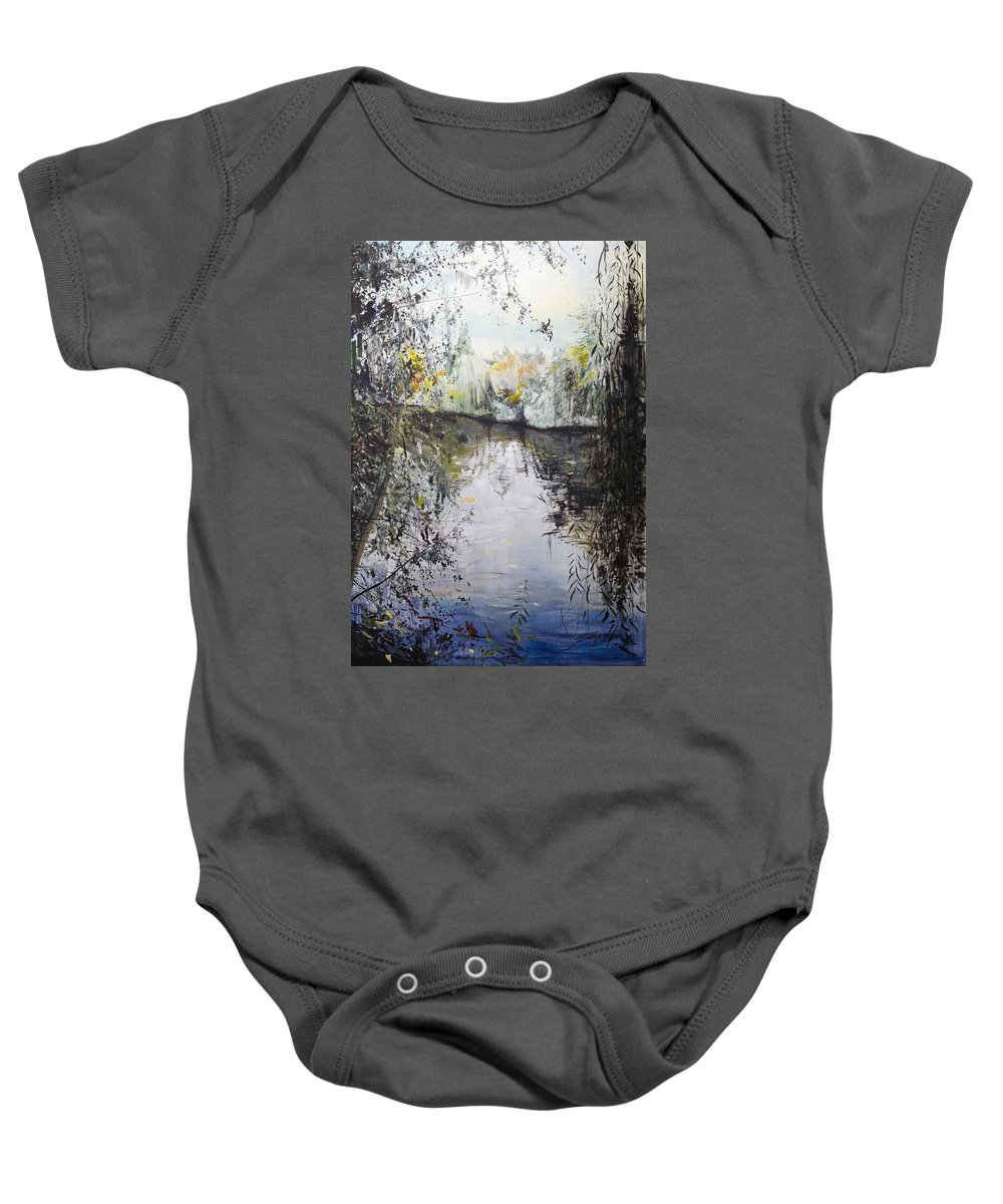 Blue Baby Onesie featuring the painting Approaching Dusk by Calum McClure