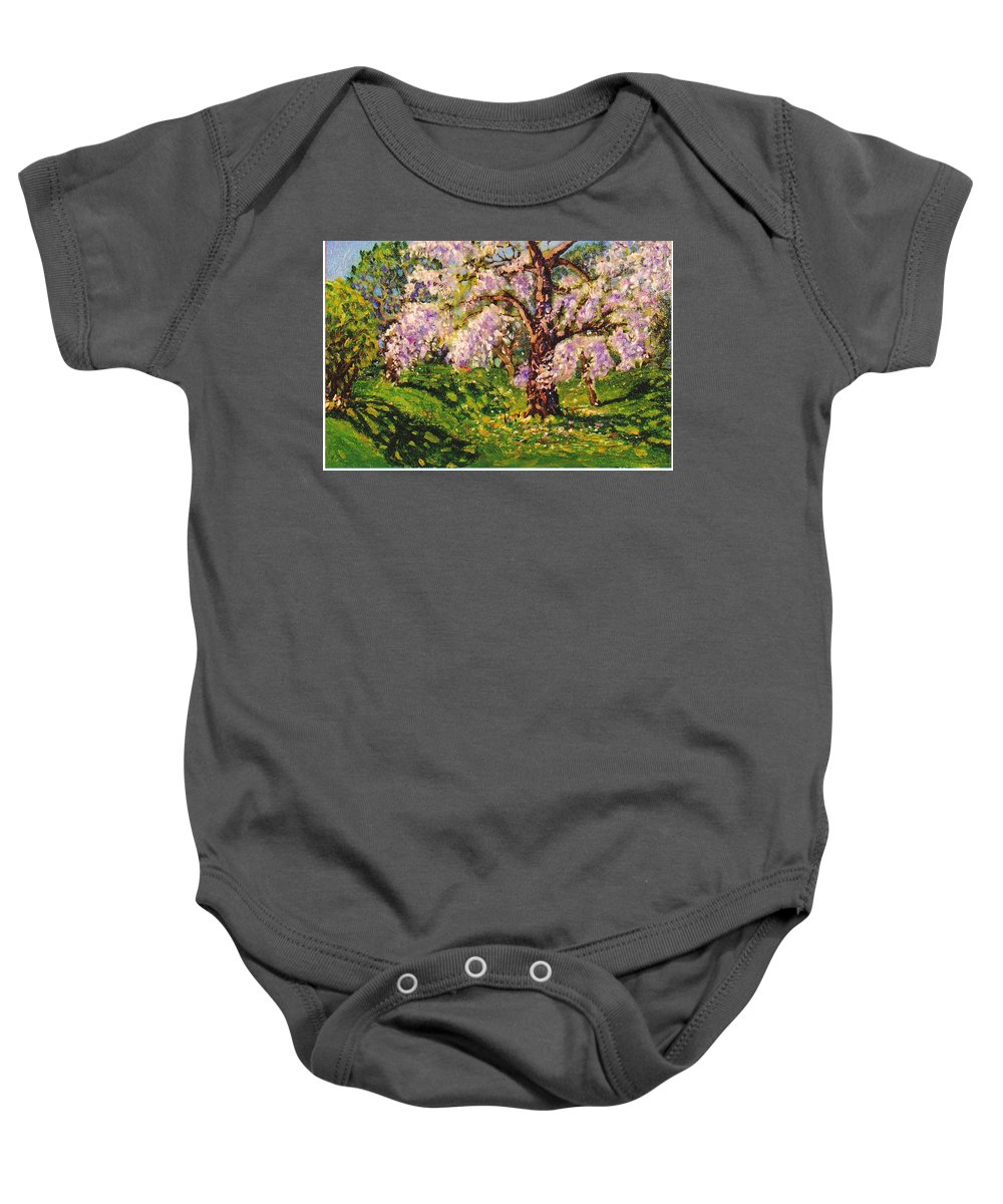 Scenic Baby Onesie featuring the painting April Dream by Jonathan Carter