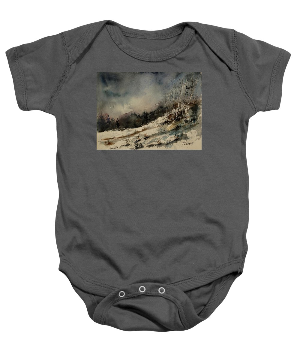 Winter Baby Onesie featuring the painting Aqua 051207 by Pol Ledent