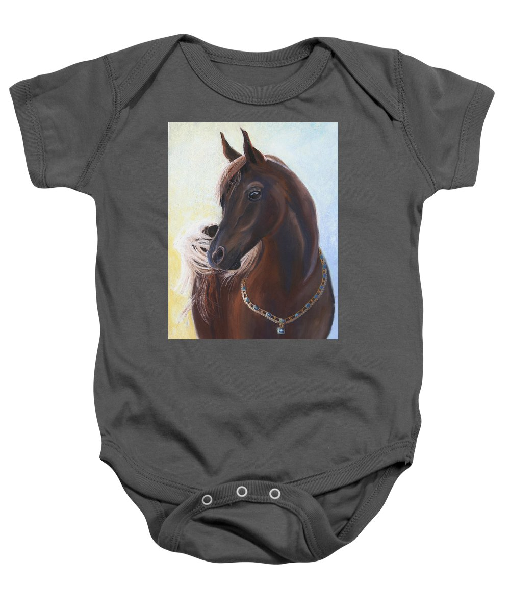 Horse Baby Onesie featuring the painting Arabian Prince by Heather Coen
