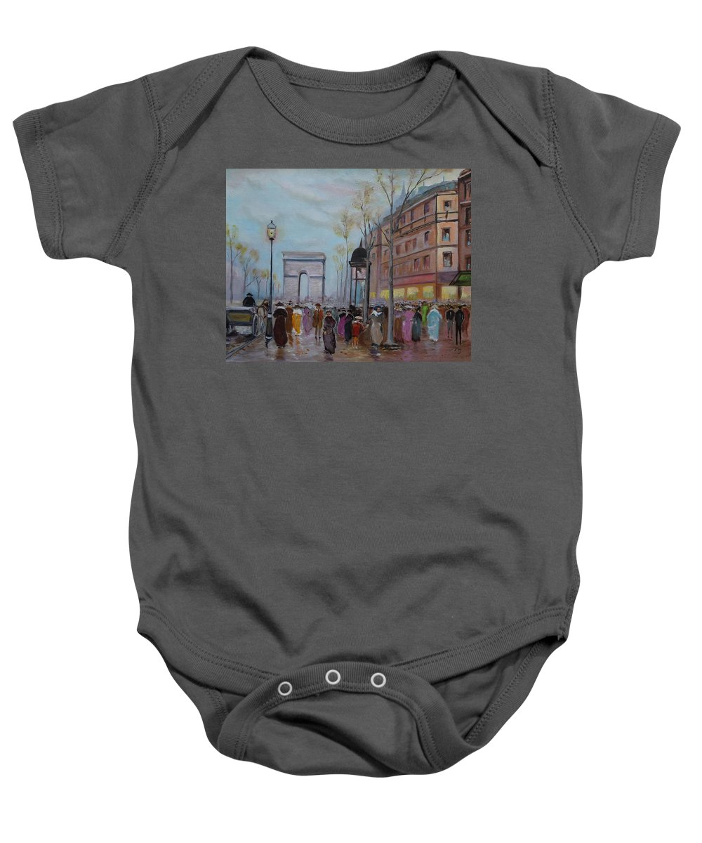 Paris Baby Onesie featuring the painting Arc De Triompfe - Lmj by Ruth Kamenev