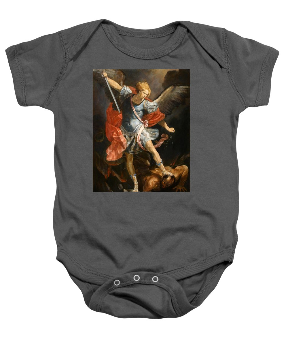 Realism Baby Onesie featuring the painting Archangel Michael by Darko Topalski