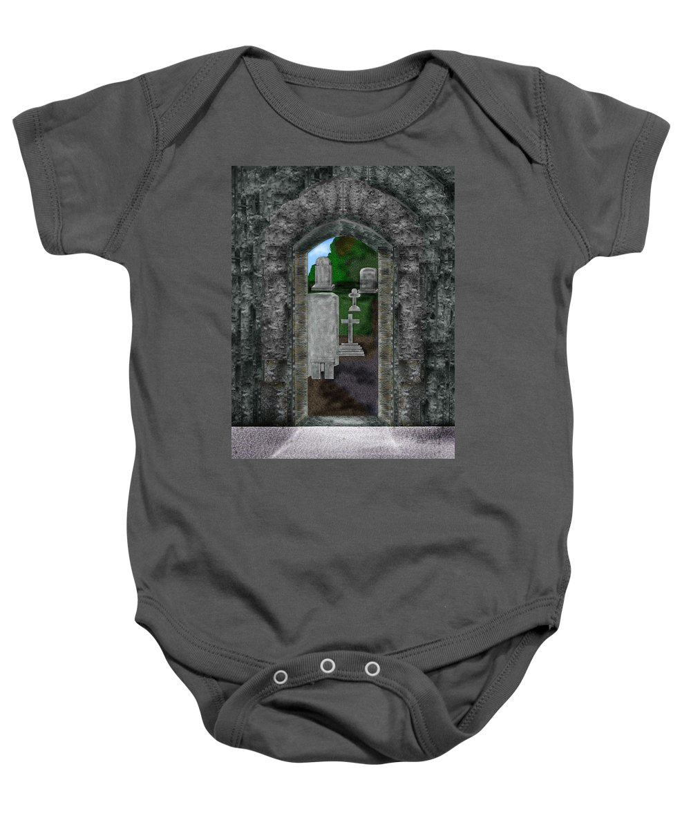Digital Landscape Baby Onesie featuring the painting Arches And Cross In Ireland by Anne Norskog