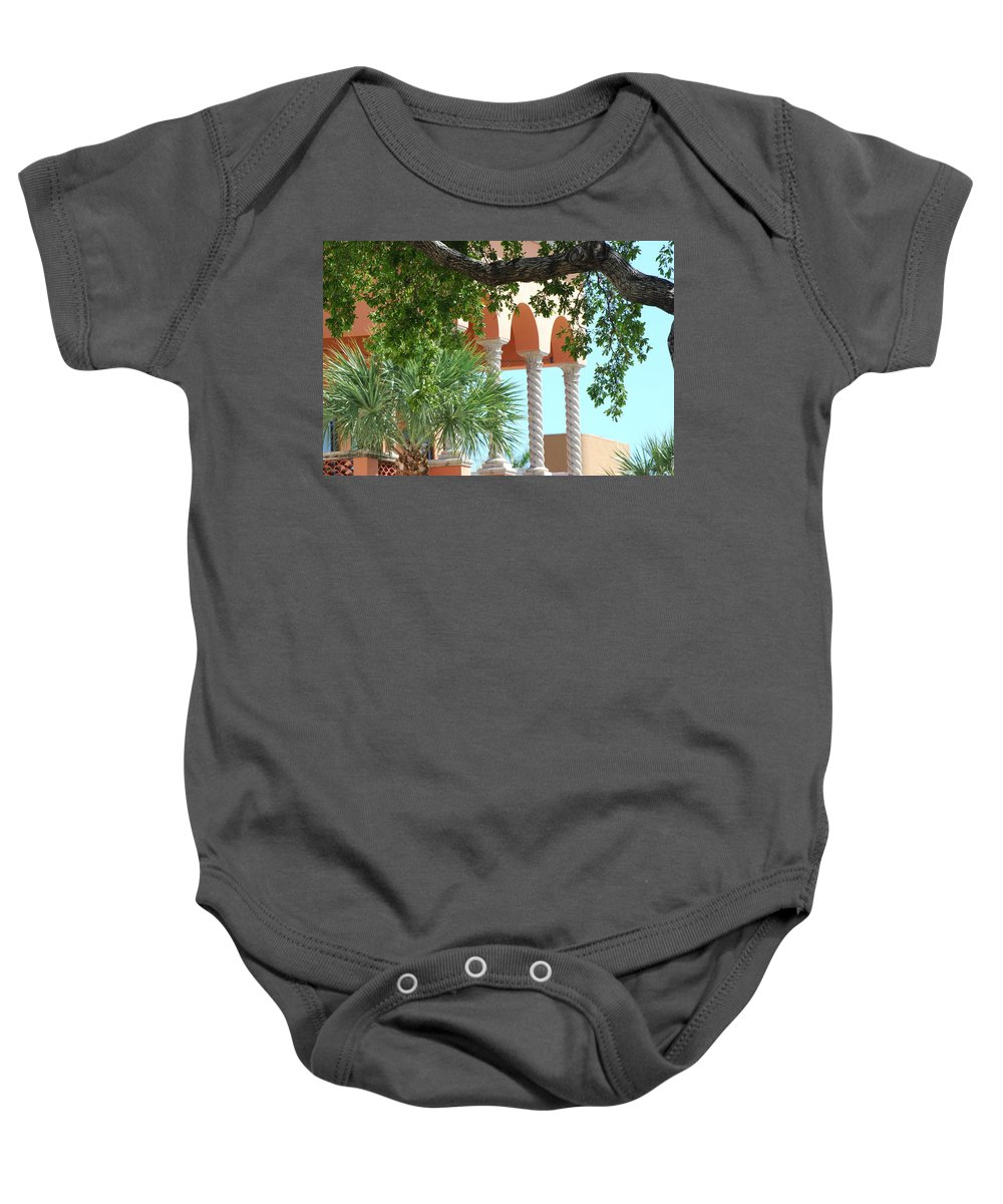 Architecture Baby Onesie featuring the photograph Arches Thru The Trees by Rob Hans