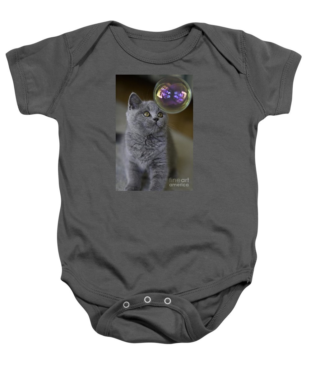 Cat Baby Onesie featuring the photograph Archie With Bubble by Sheila Smart Fine Art Photography