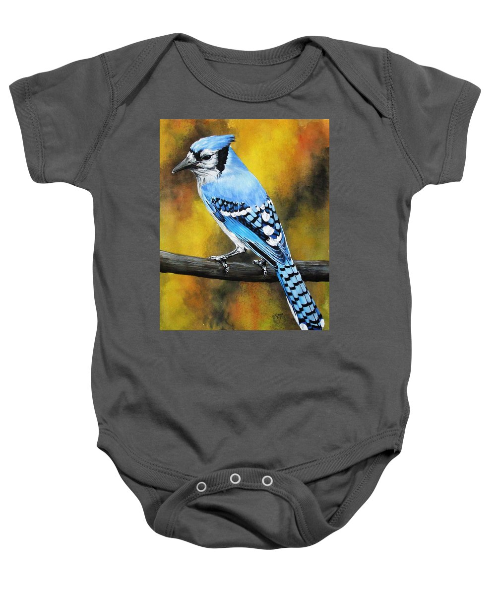 Common Bird Baby Onesie featuring the painting Aristocrat by Barbara Keith