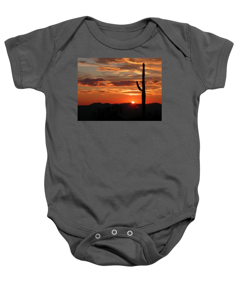 Arizona Landscape Photography With Giant Saguaro At Sunset Baby Onesie featuring the photograph Arizona by Gallery Of Modern Art