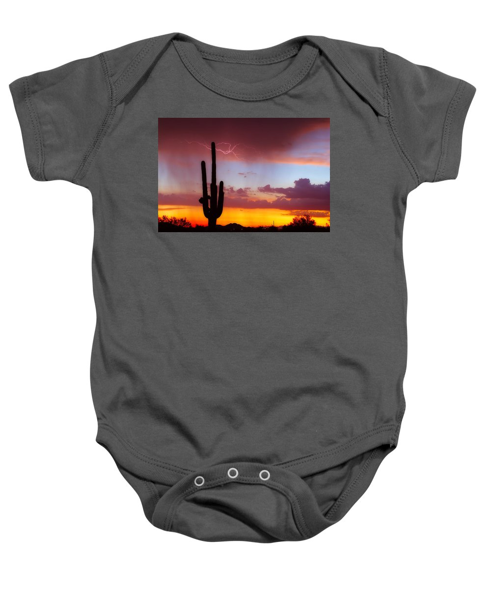 Arizona Baby Onesie featuring the photograph Arizona Lightning Sunset by James BO Insogna