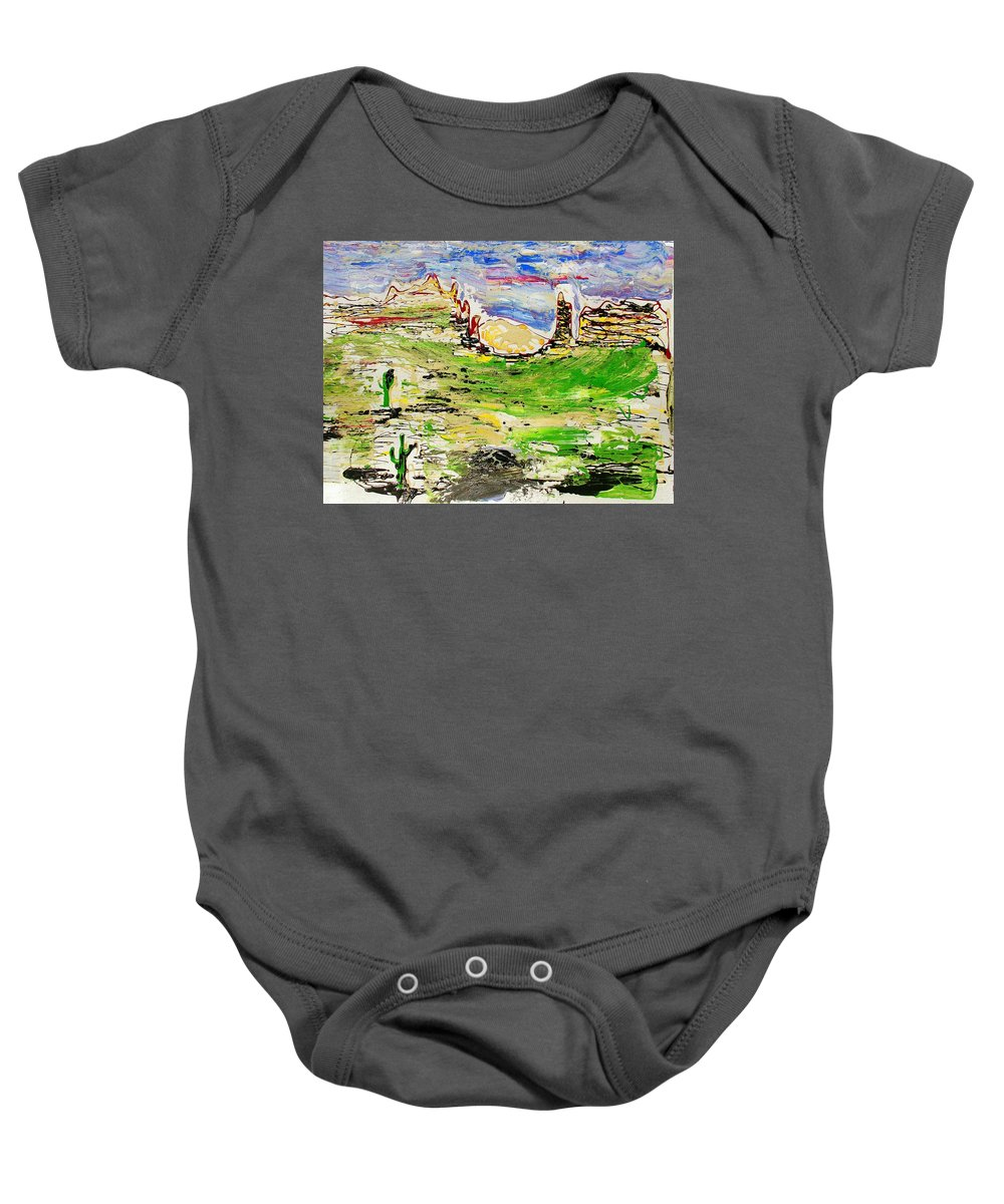 Cactus Baby Onesie featuring the painting Arizona Skies by J R Seymour