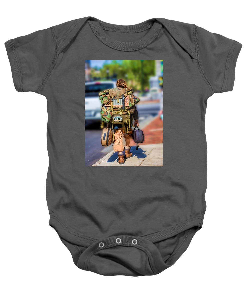 Buskers Baby Onesie featuring the photograph Arizonan In Asheville by John Haldane