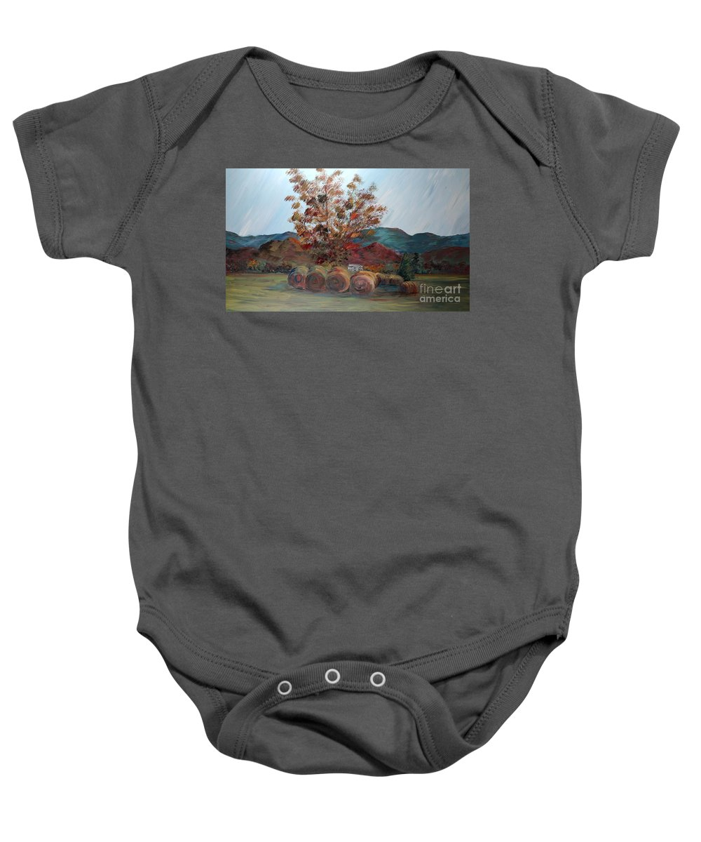 Autumn Baby Onesie featuring the painting Arkansas Autumn by Nadine Rippelmeyer