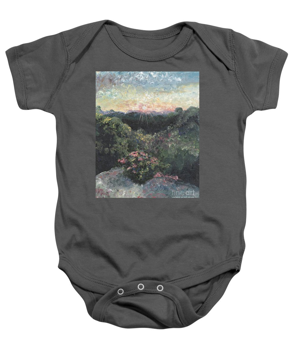 Landscape Baby Onesie featuring the painting Arkansas Mountain Sunset by Nadine Rippelmeyer