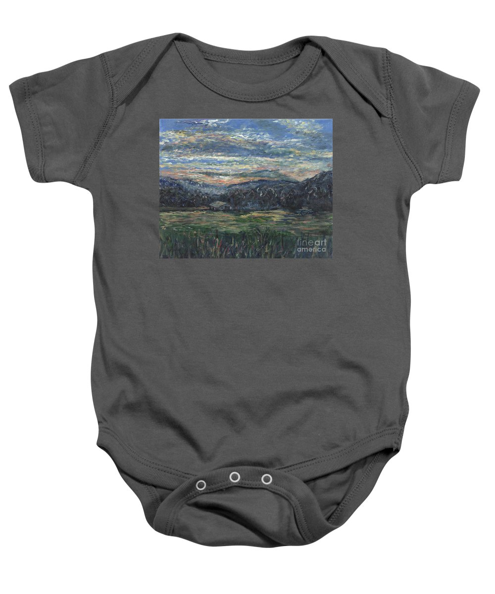 Impressionism Baby Onesie featuring the painting Arkansas Sunrise by Nadine Rippelmeyer