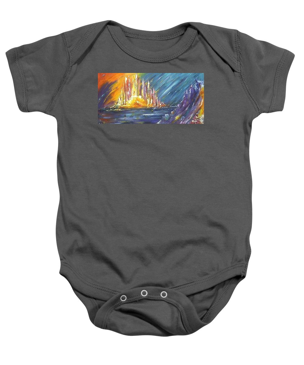Fiery Baby Onesie featuring the painting Armageddon by Melody Horton Karandjeff