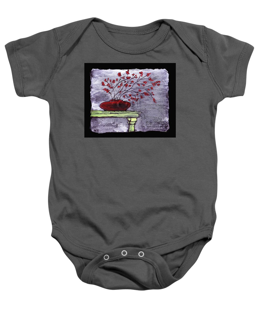 Flower Baby Onesie featuring the painting Arrangement In Red by Wayne Potrafka