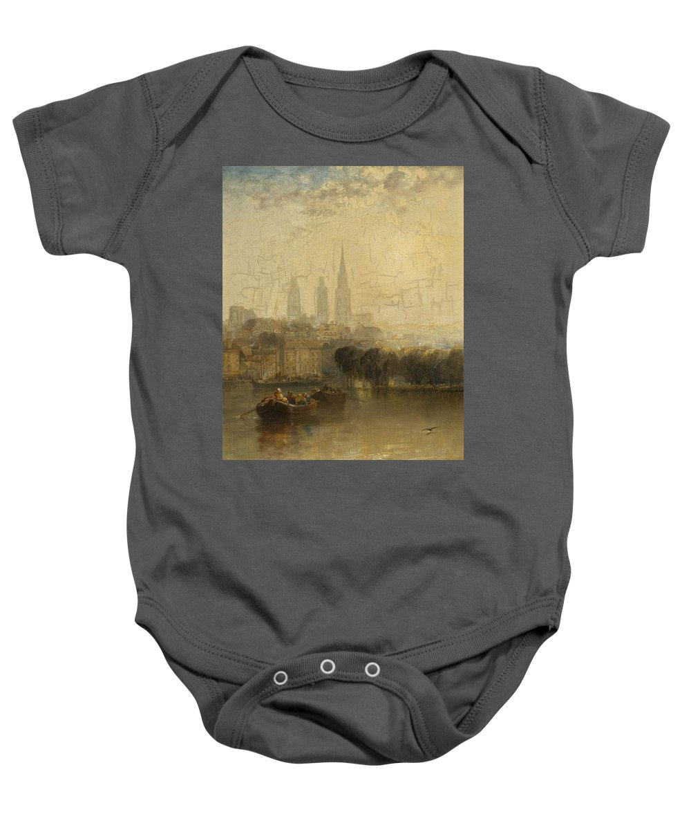 Arthur James Meadows (british 1843-1907)rouen Baby Onesie featuring the painting Arthur James Meadows by MotionAge Designs