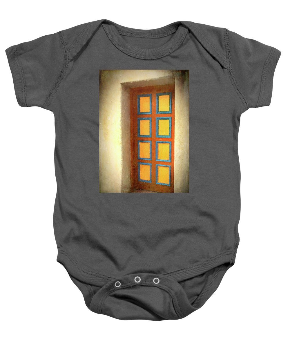 Door Baby Onesie featuring the photograph Arts Center Door by Mitch Spence