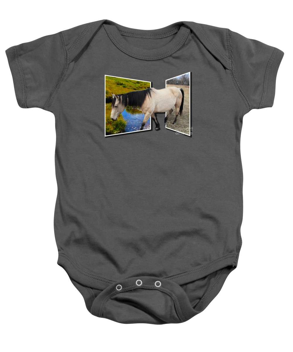 Horse Baby Onesie featuring the photograph The Grass Is Always Greener On The Other Side by Shane Bechler