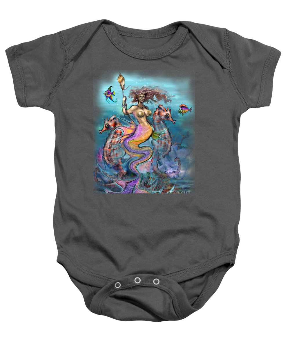 Mermaid Baby Onesie featuring the painting Mermaid by Kevin Middleton