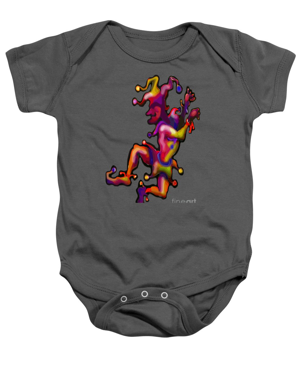 Mardi Gras Baby Onesie featuring the painting Mardi Gras Jester by Kevin Middleton