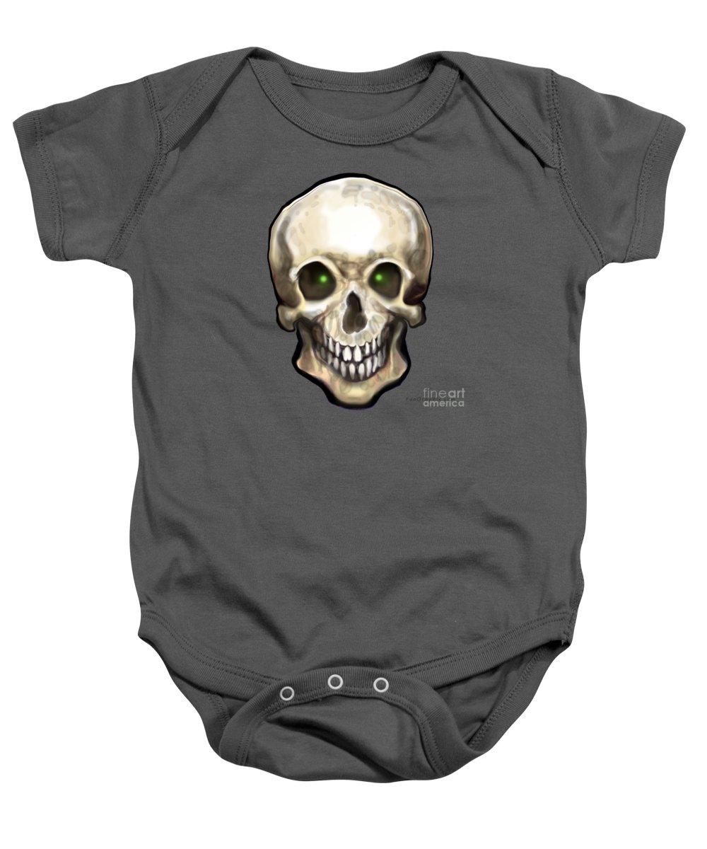 Skull Baby Onesie featuring the painting Skull by Kevin Middleton